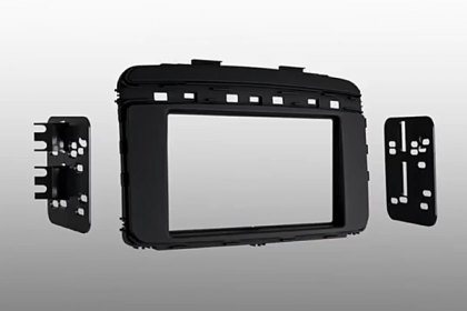 99-7366B - Metra® Single/Double DIN Black Stereo Dash Kit with Pocket (HD)