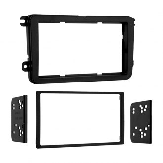 Metra® - Double DIN Black Stereo Dash Kit with Trim Panel and Brackets