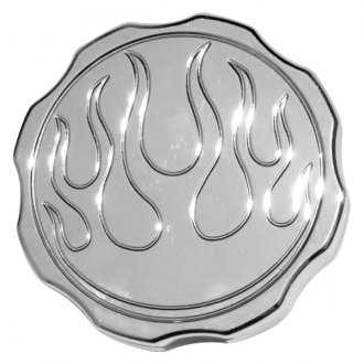 "Meziere Enterprises® - ""Flames"" Chrome Radiator Cap"