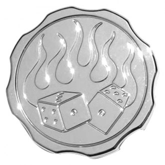 "Meziere Enterprises® - ""Fire and Dice"" Chrome Radiator Cap"