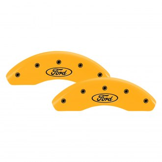 MGP® - Gloss Yellow Front Caliper Covers with Ford Oval Logo Engraving