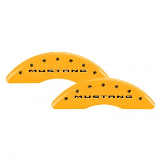 MGP® - Gloss Yellow Caliper Covers with Mustang / Bar and Pony Engraving (Full Kit, 4 pcs)