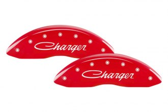 MGP® 12005SCHSRD - Gloss Red Caliper Covers with Charger Cursive Engraving