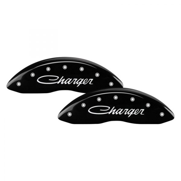 MGP® - Gloss Black Front Caliper Covers with Charger Cursive Engraving (Full Kit, 4 pcs)