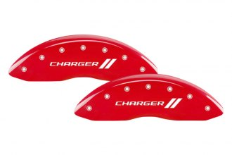 MGP® 12162SCH1RD - Gloss Red Caliper Covers with Charger and Stripes Engraving