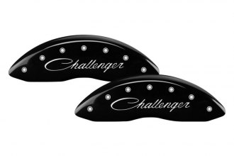 MGP® 12162SCLSBK - Gloss Black Caliper Covers with Challenger Cursive Engraving