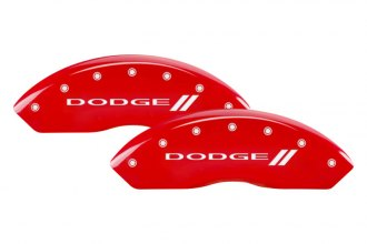 MGP® - Gloss Red Caliper Covers with Dodge and Stripes Engraving
