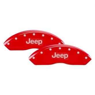 MGP® - Gloss Red Caliper Covers with JEEP / Grill Logo Engraving (Full Kit, 4 pcs)