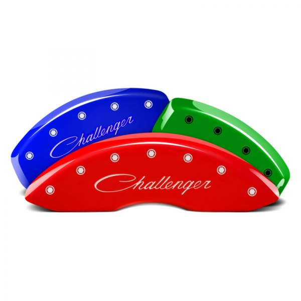 MGP® - Custom Colors Caliper Covers with Challenger Cursive Engraving (Full Kit, 4 pcs)