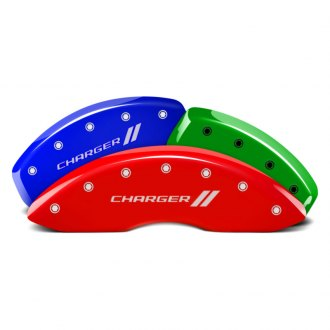 MGP® - Custom Colors Caliper Covers with Charger and Stripes Engraving (Full Kit, 4 pcs)