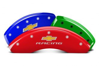 MGP® 14033SBRCDF - Custom Colors Caliper Covers with Chevy racing Engraving