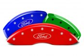 Image may not reflect your exact vehicle! MGP® - Custom Colors Caliper Covers with Ford Oval Logo Engraving (Full Kit, 4 pcs)