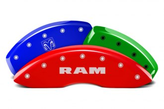 MGP® 12043SRMHDF - Custom Colors Caliper Covers with Ram / Ramhead Engraving
