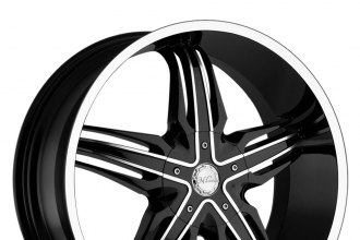 "MILANNI® - PHOENIX Gloss Black with Machined Face and Lip (22"" x 9.5"", +15 Offset, 5x114.3 Bolt Pattern, 78.1mm Hub)"