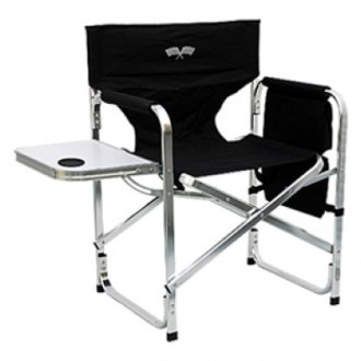 Mings Mark® - Director's Chair Folding Black Flag with Side Table and Pockets