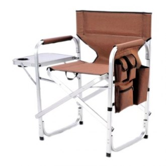 Mings Mark® - Director's Chair Folding Brown with Side Table and Pockets