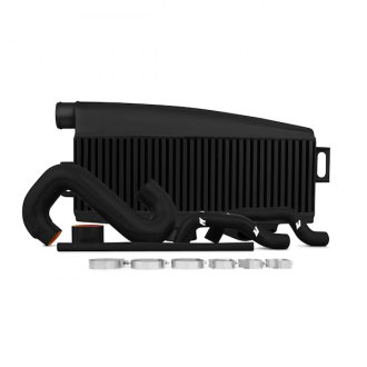 Mishimoto® - Top-Mount Performance Black Powdercoated Aluminum Intercooler with Blue Hoses
