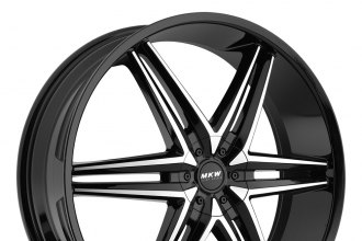 "MKW® - M106 Gloss Black with Machined Face (17"" x 7.5"", +40 Offset, 5x114.3 Bolt Pattern, 73mm Hub)"