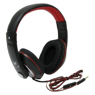 MobileSpec® - Chords Series Stereo Headphones with In-Line Microphone (Black and Red)