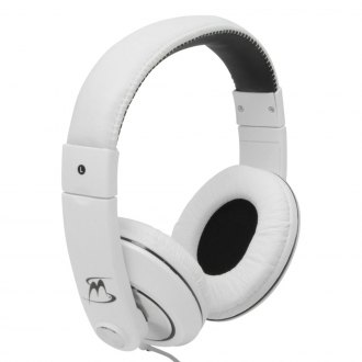 MobileSpec® - Chords Series Stereo Headphones with In-Line Microphone (White/Black)