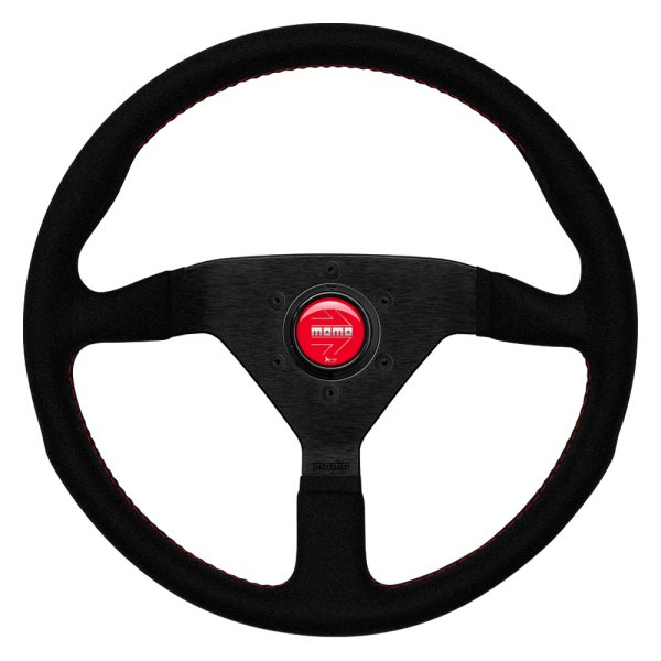 MOMO® - 3-Spoke Monte Carlo Series Alcantara Leather Steering Wheel with Red Stitch