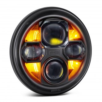 "Morimoto® - 7"" Round Black Projector LED Headlight with Switchback DRL"