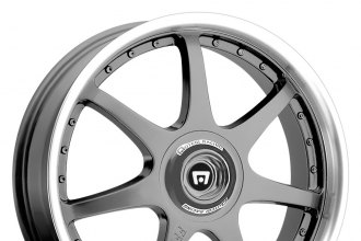 "MOTEGI RACING® - FF7 Gunmetal with Clear Coat and Polished Lip (18"" x 7.5"", +45 Offset, 5x114.3 Bolt Pattern, 72.6mm Hub)"