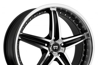 "MOTEGI RACING® - MR107 Gloss Black with Machined Face and Lip (18"" x 8"", +42 Offset, 5x120.65 Bolt Pattern, 72.60mm Hub)"
