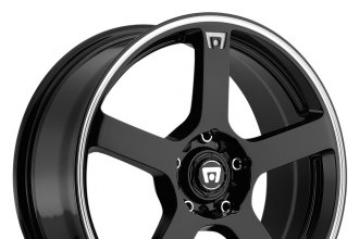 "MOTEGI RACING® - MR116 Gloss Black with Machined Stripe (16"" x 7"", +40 Offset, 4x100 Bolt Pattern, 72.6mm Hub)"