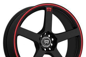 "MOTEGI RACING® - MR116 Matte Black with Red Stripe (15"" x 6.5"", +40 Offset, 4x100 Bolt Pattern, 72.6mm Hub)"
