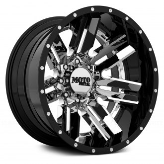 MOTO METAL® - MO202 Chrome Center with Black and Milled Lip