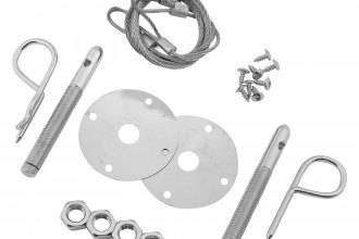 "Mr. Gasket® - Competition Hood And Deck Pinning Kit (With Scuff Plates/Two 24"" Lanyard Cables, Two Safety Pins)"