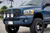 Image may not reflect your exact vehicle! N-Fab® - Gloss Black Front Pre-Runner Style Light Bar