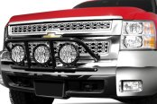 Image may not reflect your exact vehicle! N-Fab® - Light Cage on Chevy Silverado Installed