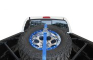 N-FAB® - Black Powdercoat Spare Tire Rack with Strap