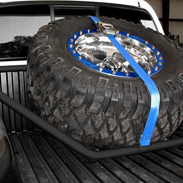 N-Fab® - Black Powder Coated Spare Tire Rack with Strap