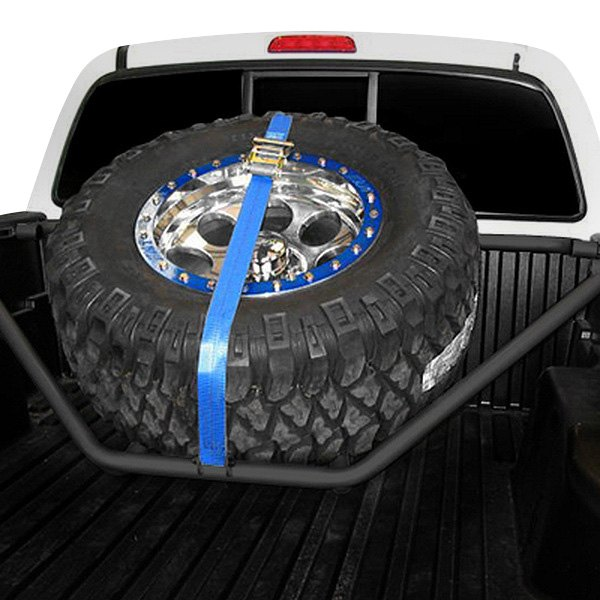 N-Fab® - Gloss Black Spare Tire Rack with Strap