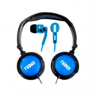 Naxa® - 2-In-1 Blue Combo Super Bass Stereo Headphones and Earphones