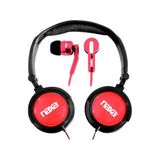 Naxa® - 2-In-1 Red Combo Super Bass Stereo Headphones and Earphones