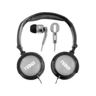 Naxa® - 2-In-1 Silver Combo Super Bass Stereo Headphones and Earphones