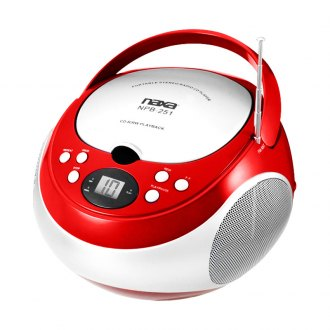 Naxa® - Portable Red CD Player with AM/FM Stereo Radio
