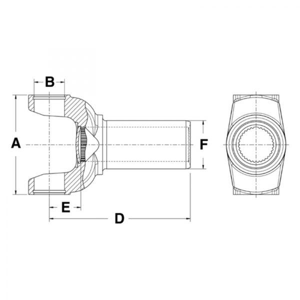 neapco® ford mustang tremec transmission t5od transmission 2005 Light Diagram neapco® 1350 series full spline drive shaft transmission slip yoke