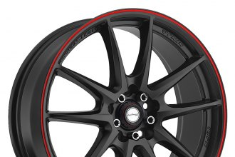 "NINJA® - NJ01 Matte Black with Red Pinstripe (17"" x 7"", +40 Offset, 5x114.3 Bolt Pattern, 73.1mm Hub)"