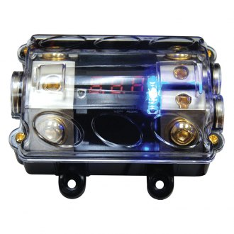 Audiopipe® - 4 Gauge Input Two 4 Gauge Outputs ANL Fuse Holder with Blue LED Lighting