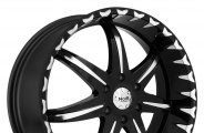 "NOIR® - BLACK STAR Black with Machined Face and Lip Accents (22"" x 9.5"", +15 Offset, 5x135 Bolt Pattern, 87mm Hub)"