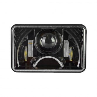 "Nova-Lux® - 4x6"" Rectangular Black Full LED Projector Headlight with DRL"