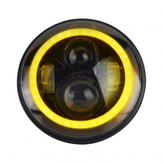"Nova-Lux® - 7"" Round Black Halo Projector LED Headlight with Switchback Halo"
