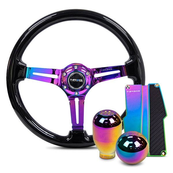 """BLACK WITH NEO CHROME CENTER STEERING WHEEL 350MM//14/"""" DEEP DISH CLASSIC"""