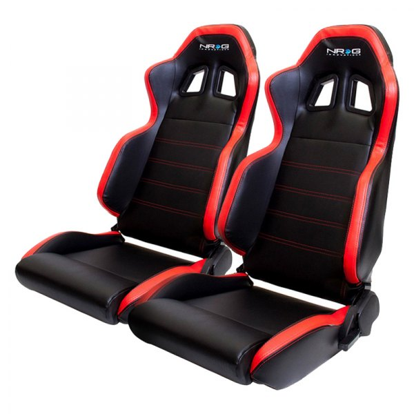 NRG Innovations® - PVC Sport Seats, Black with Red Stitching Logo
