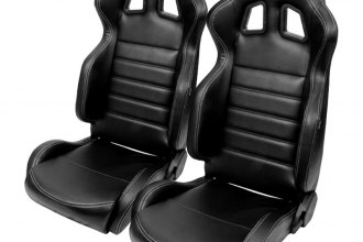 NRG Innovations® - Reclinable Sport Seats, Black Leather with Silver Stitching Logo